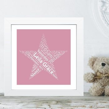 Framed New Baby Star Word Cloud - Ideal Christening/Naming Day Gift or Nursey Artwork